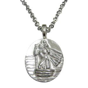 Silver Toned Oval Saint Christopher Pendant Neckla